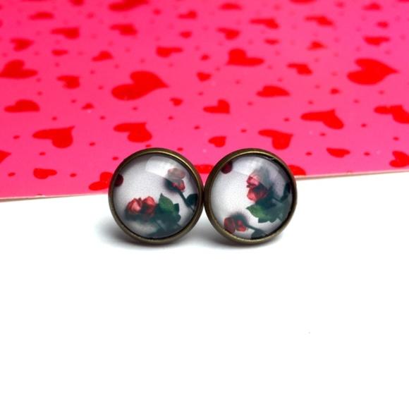 Country Mermaids Jewelry - Red Roses Earrings